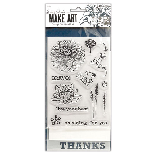 Ranger Ink - Wendy Vecchi - Make Art - Stamp, Die, and Stencil Set - Bravo