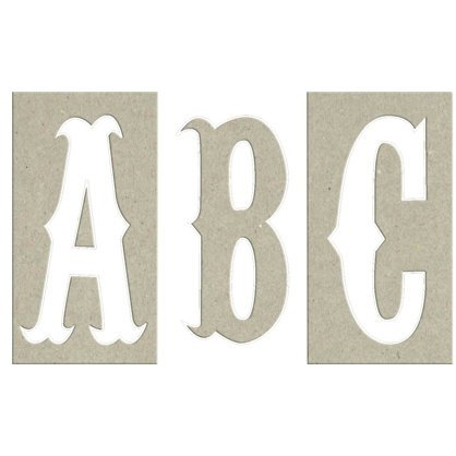 Rusty Pickle - Chipboard Alphabet and Numbers - 60 Pieces - 1847, CLEARANCE