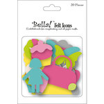 Ruby Rock It Designs - Bella - Paper Doll Collection - Die Cut Felt Pieces - Icons