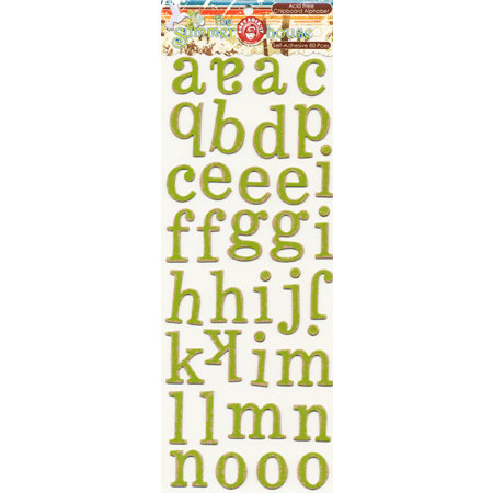 Ruby Rock It Designs - The Summerhouse Collection - Self Adhesive Chipboard Stickers - Alphabet - Lime