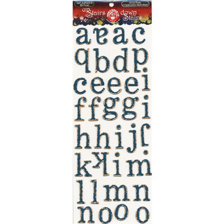 Ruby Rock It Designs - Upstairs Downstairs Collection - Self Adhesive Chipboard Stickers - Alphabet - Blue