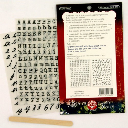 Ruby Rock It Designs - Upstairs Downstairs Collection - Rub Ons - Alphabet