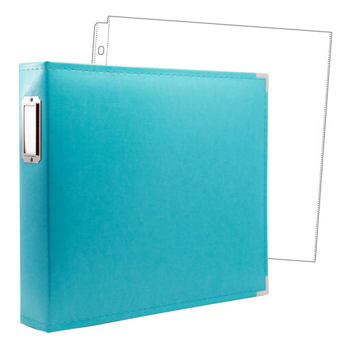 Scrapbook.com - 12 x 12 Three Ring Album - Aqua with 10 Page Protectors