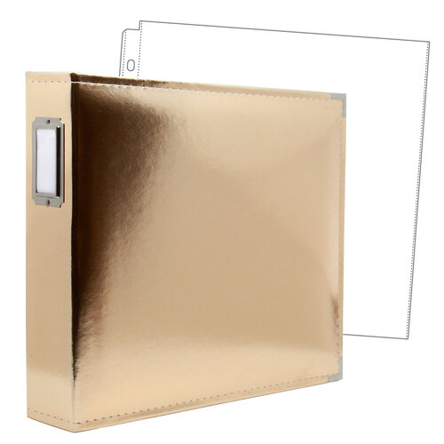 Scrapbook.com - 12 x 12 Three Ring Album - Gold with 10 Page Protectors