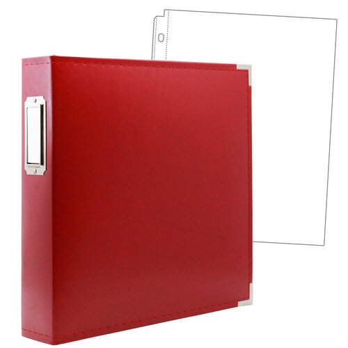 Scrapbook.com - 8.5 x 11 Three Ring Album - Red with 10 Page Protectors
