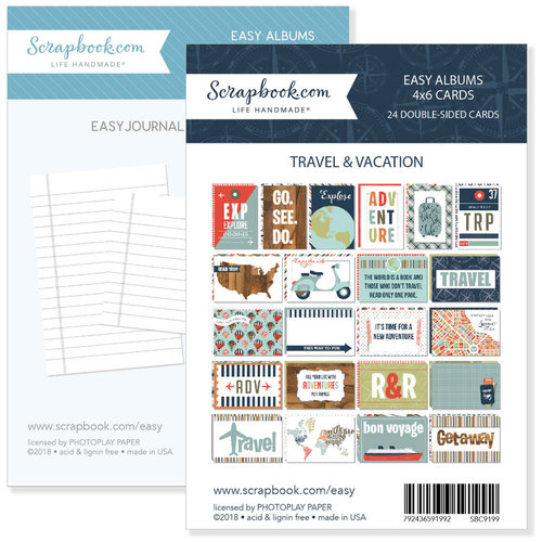 Scrapbook.com - 4 x 6 - Journaling and Themed Cards for Easy Albums - Travel and Vacation Bundle