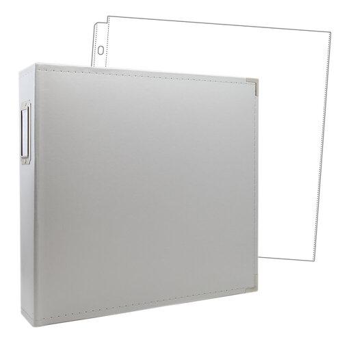Scrapbook.com - 12x12 Three Ring Album - Light Gray - With 12x12 Page Protectors 10 pk
