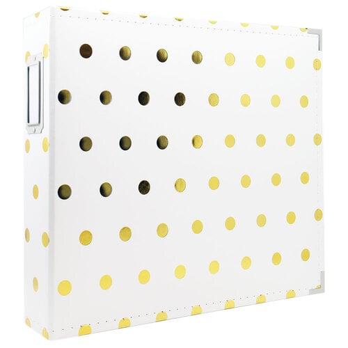Scrapbook.com - 12x12 Premium Three Ring Album - White with Gold Foil Dots