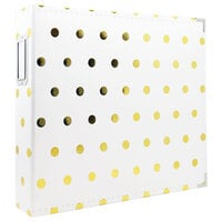 Scrapbook.com - 12x12 Premium Three Ring Album - White with Gold Foil Dots