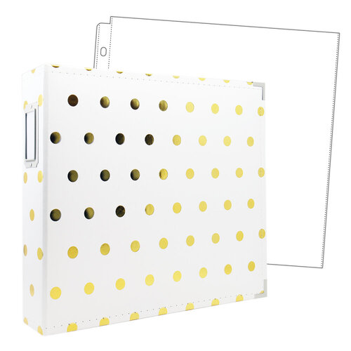 Scrapbook.com - 12x12 Premium Three Ring Album - White with Gold Foil Dots - With 12x12 Page Protectors 10 pk