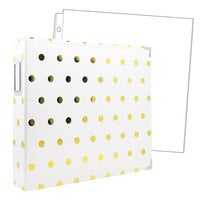 Scrapbook.com - 12x12 Three Ring Album - White with Gold Foil Dots - With 12x12 Page Protectors 10 pk
