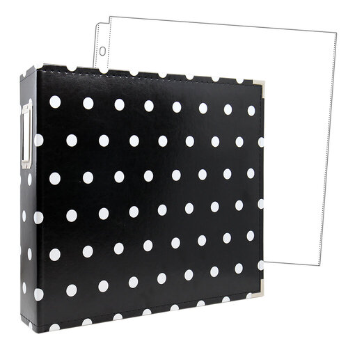 Scrapbook.com - 12x12 Three Ring Album - Black with White Dots - With 12x12 Page Protectors 10 pk