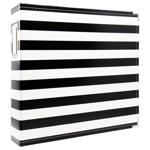 Scrapbook.com - 12x12 Premium Three Ring Album - Black and White Stripe