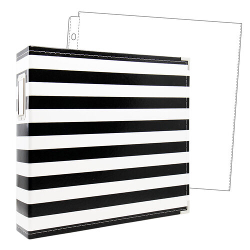 Scrapbook - 12x12 Premium Three Ring Album - Black and White Stripe - With 12x12 Page Protectors 10 pk