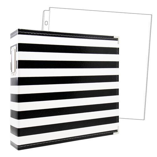 Scrapbook.com - 12x12 Premium Three Ring Album - Black and White Stripe - With 12x12 Page Protectors 10 pk