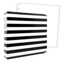 Scrapbook.com - 12x12 Premium Three Ring Album - Black and White Stripe - With 12x12 Page Protectors 10 pk