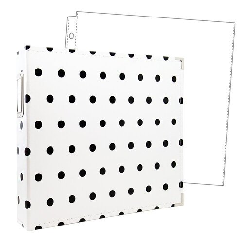 Scrapbook.com - 12x12 Premium Three Ring Album - White with Black Dots - With 12x12 Page Protectors 10 pk