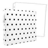 Scrapbook.com - 12x12 Three Ring Album - White with Black Dots - With 12x12 Page Protectors 10 pk