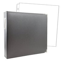 Scrapbook.com - 12x12 Three Ring Album - Charcoal Gray - With 12x12 Page Protectors 10 pk