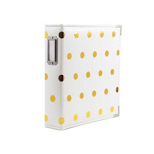 Scrapbook.com - 6x8 Two Ring Album - White and Gold Foil Dot