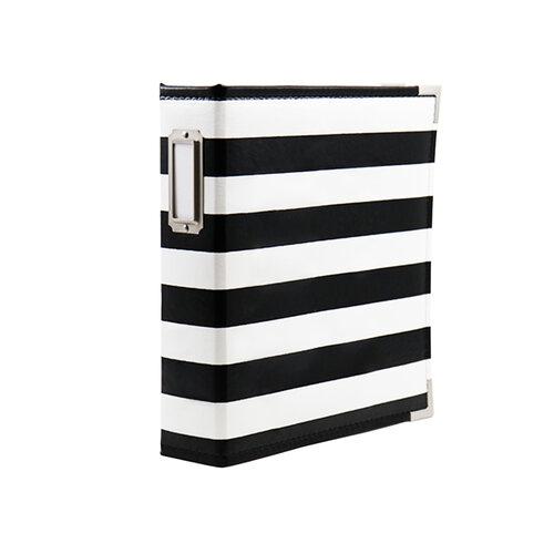 Scrapbook.com - 6x8 Two Ring Album - Black and White Stripe
