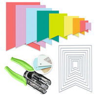 Scrapbook.com - We R Crop-A-Dile Power Punch and Die Bundle - Nested Jumbo Flag Banners