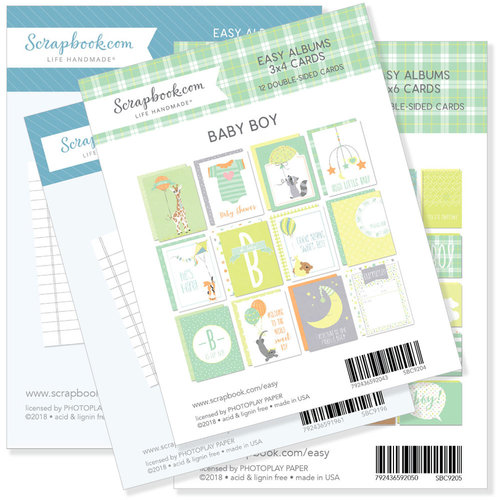 3 x 4 and 4 x 6 - Journaling and Themed Cards for Easy Albums - Baby Blues Bundle