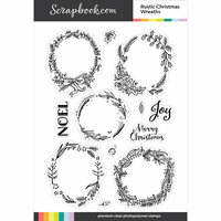 Scrapbook.com - Clear Photopolymer Stamp Set - Rustic Christmas Wreaths