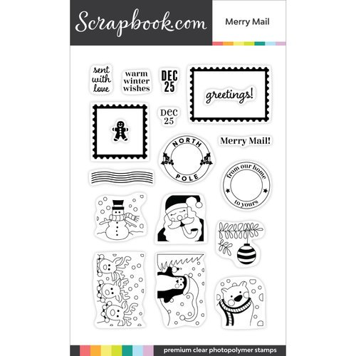 Scrapbook.com - Clear Photopolymer Stamp Set - Merry Mail