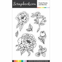 Scrapbook.com - Clear Photopolymer Stamp Set - Fresh Florals and Berries