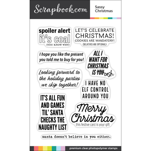Scrapbook.com - Clear Photopolymer Stamp Set - Sassy Christmas