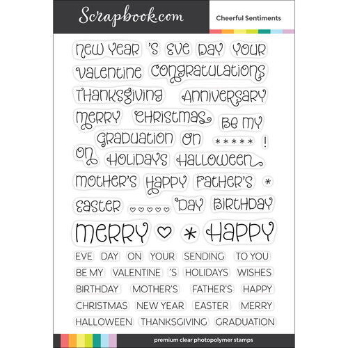 Scrapbook.com - Clear Photopolymer Stamp Set - Cheerful Sentiments