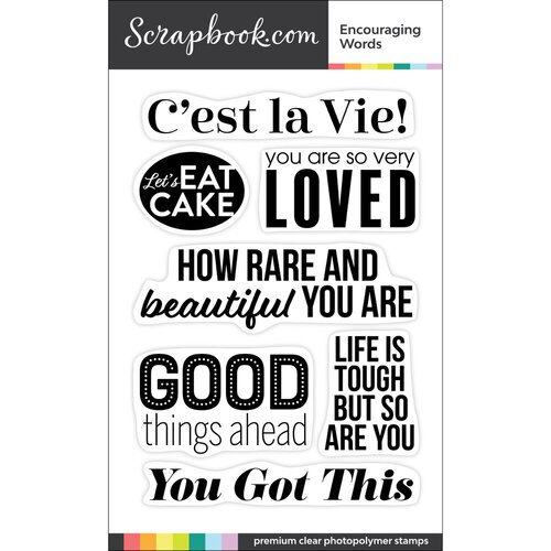 Scrapbook.com - Clear Photopolymer Stamp Set - Encouraging Words
