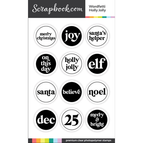 Scrapbook.com - Clear Photopolymer Stamp Set - Wordfetti Holly Jolly