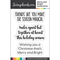 Scrapbook.com - Clear Photopolymer Stamp Set - Merry and Bright Sentiments
