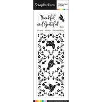 Scrapbook.com - Clear Photopolymer Stamp Set - Slimline Thankful and Grateful