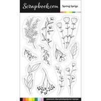 Scrapbook.com - Clear Photopolymer Stamp Set - Spring Sprigs