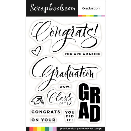 Scrapbook.com - Clear Photopolymer Stamp Set - Graduation