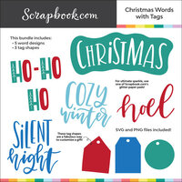 Digital Cut File - Christmas Words with Tags - Bundle of 8 Designs