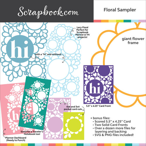 Scrapbook.com - Digital Cut File - Floral Sampler Pack for Cards and More - Bundle of 20 Designs