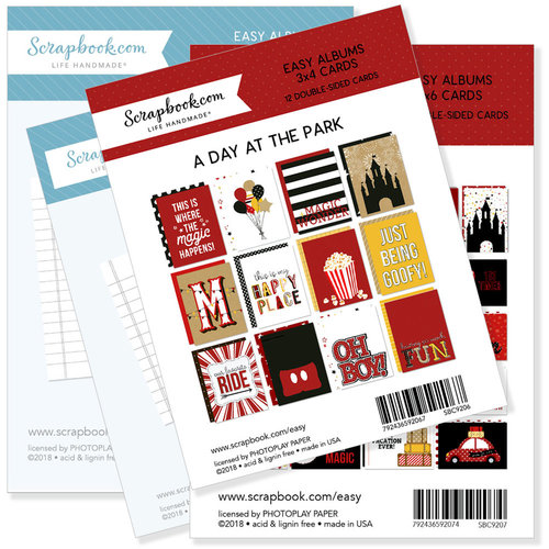 Scrapbook.com - 3 x 4 and 4 x 6 - Journaling and Themed Cards for Easy Albums - Magical Day at the Park Bundle