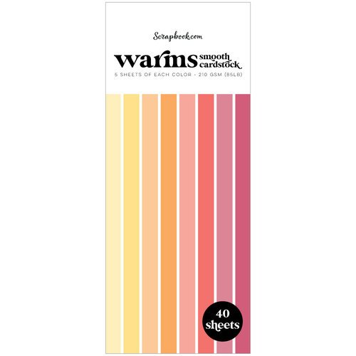 Scrapbook.com - Warms - Smooth Cardstock Paper Pad - Slimline - 3.5 x 8.5 - 40 Sheets