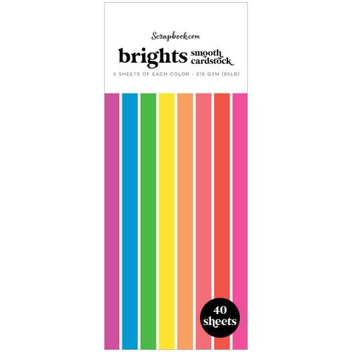 Scrapbook.com - Brights - Smooth Cardstock Paper Pad - Slimline - 3.5 x 8.5 - 40 Sheets