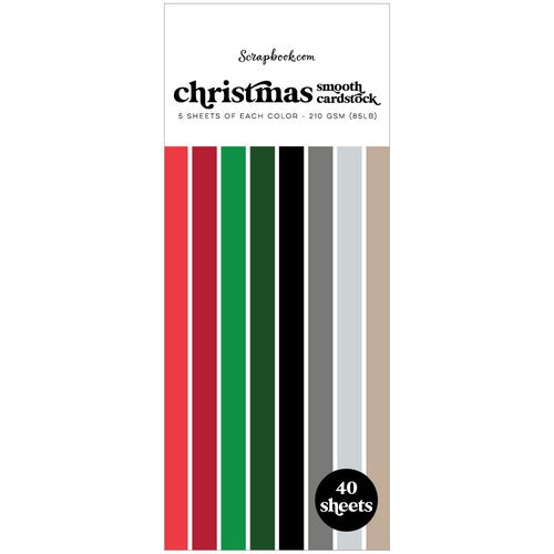 Scrapbook.com - Christmas - Smooth Cardstock Paper Pad - Slimline - 3.5 x 8.5 - 40 Sheets