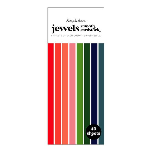 Scrapbook.com - Jewels - Smooth Cardstock Paper Pad - Slimline - 3.5 x 8.5 - 40 Sheets