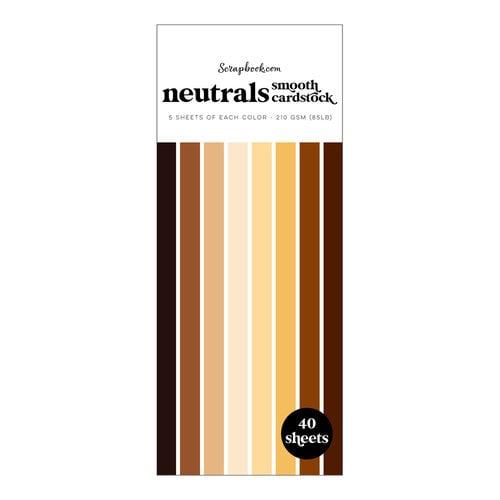 Scrapbook.com - Neutrals - Smooth Cardstock Paper Pad - Slimline - 3.5 x 8.5 - 40 Sheets