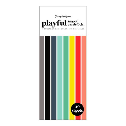Scrapbook.com - Playful - Smooth Cardstock Paper Pad - Slimline - 3.5 x 8.5 - 40 Sheets