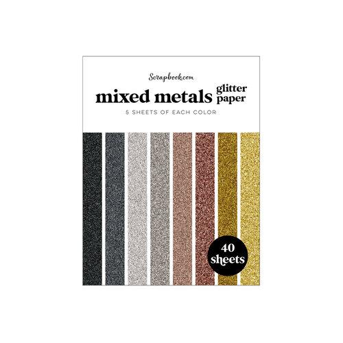 Scrapbook.com - Mixed Metals - Glitter Paper Pad - A2 - 4.25 x 5.5 - 40 Sheets