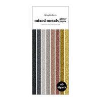 Scrapbook.com - Mixed Metals - Glitter Paper Pad - Slimline - 3.5 x 8.5 - 40 Sheets