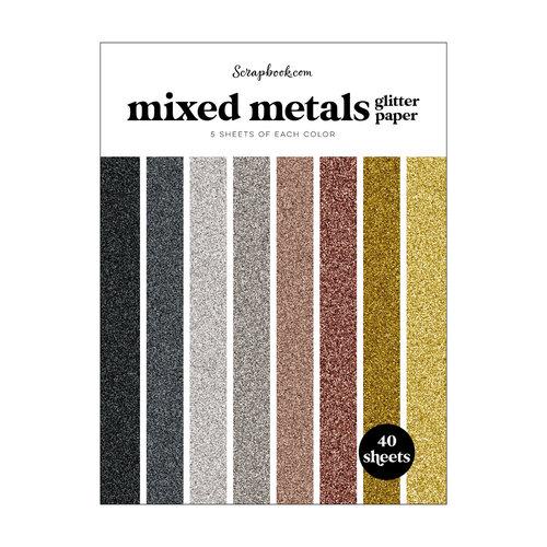 Scrapbook.com - Mixed Metals - Glitter Paper Pad - 6x8 - 40 Sheets